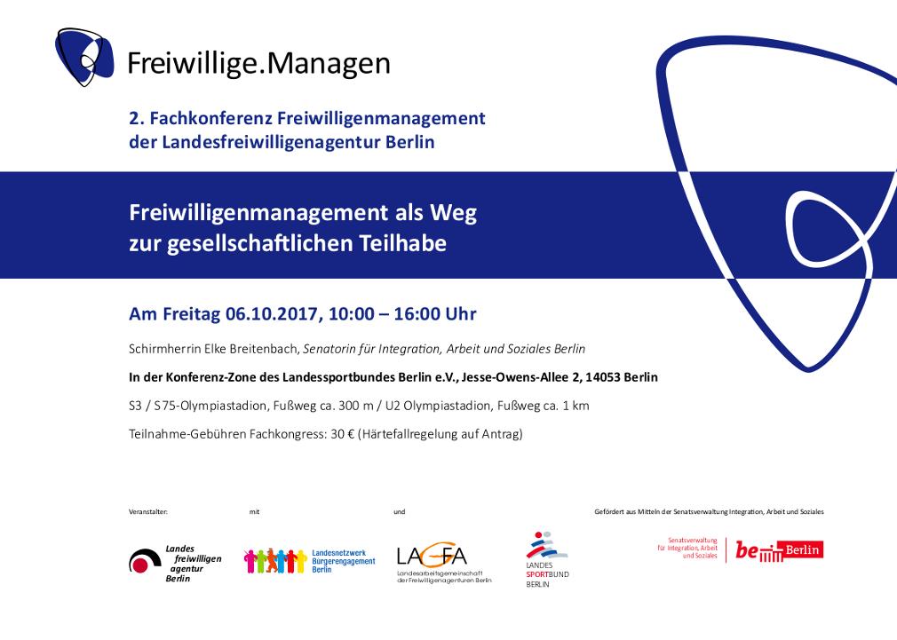 Einladung 2. Fachkonferenz Freiwilligenmanagement